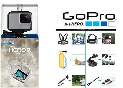 GoPro HERO7 White Waterproof Action Camera chdhb-601 1080p HD Video Accessories