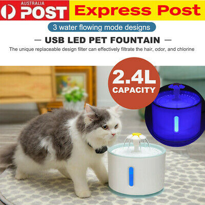 LED USB Automatic Electric Pet Water Fountain Cat/Dog Drinking Dispenser 2.4L AU