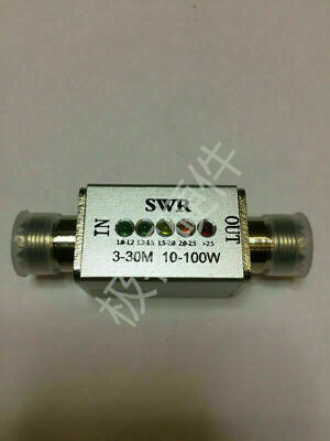 NEW 3Mhz-30Mhz 10-100w SWR meter Connector MINI SWR LED indicator display