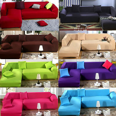 US L Shape Stretch Elastic Fabric Sofa Cover Sectional Corner Couch Covers
