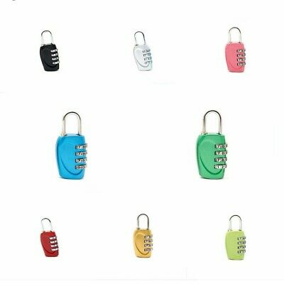 4 Digit Wide Shackle Combination Padlock Resettable Code Lock Set 8 Colors