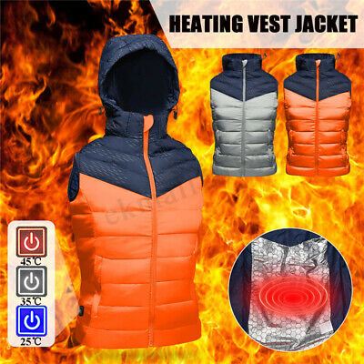 L-XXXL USB Electric Heated Warm Vest Men Women Rechargeable Heating Coat Jacket