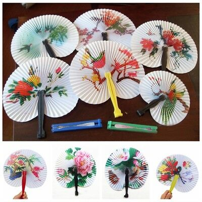 6 Chinese Paper Folding Hand Fan Oriental Floral Fancy Party Wedding Favors Gift