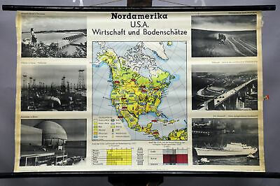 black and white map wall chart North America USA economy mineral resources