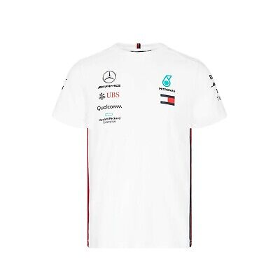 NEW 2019 Mercedes AMG F1 Team MENS Lewis Hamilton T Shirt Tee WHITE – OFFICIAL