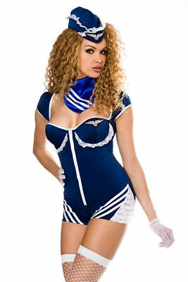 Saresia Stewardess-Kostüm: Body Mütze Halstuch Handschuhe Stockings in blau XS-M