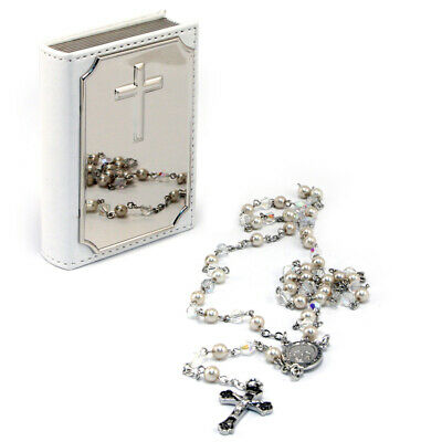NEW Whitehill Rosary Bead and Leatherette Bible Case Set