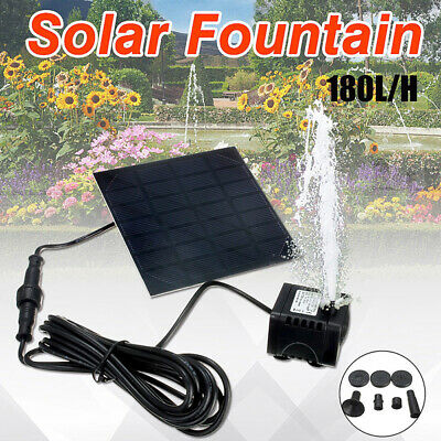 Solar Fountain Water Pump Panel Garden Pond Pool Submersible Watering Kit EB