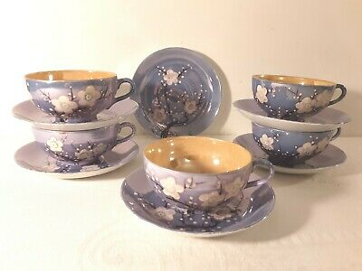 5 Cups & Saucers TSL21 TASHIRO SHOTEN Elephant Mark Blue & Orange Lusterware