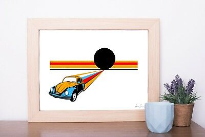 VW Beetle Pop art digital  print drawing poster A4 size wallart