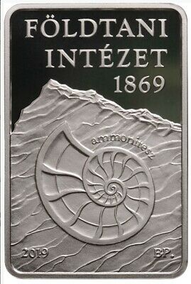 Hungary Silver 10000 forint 2019 Institute of Geology Ammonite Fossil Proof UNC
