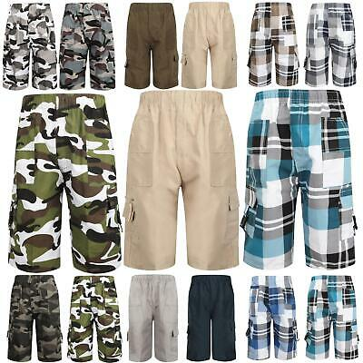 Shorts Camouflage Checked Multipocket ¾ Length Combat Boys Kids Age 3-14 Years