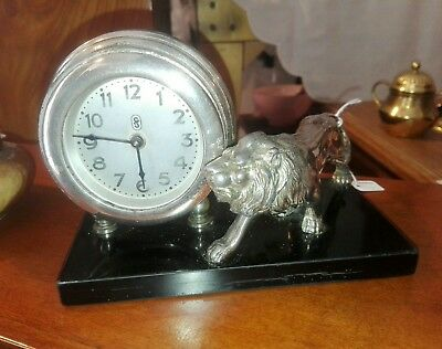 Antique Alarm Tabletop Clock Desk with Base in Marble Depicting Lion