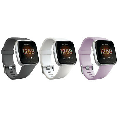 Fitbit Versa Lite Wearable Smartwatch Black White Lilac - One Size (S & L Bands)