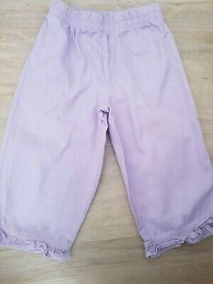 Girls Cq Lilac 4-5 Years Lightweight Frilly Trousers Mint Condition