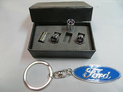Premium Quality Stainless Steel Dust Caps With a Ford Logo And A Ford Keyring