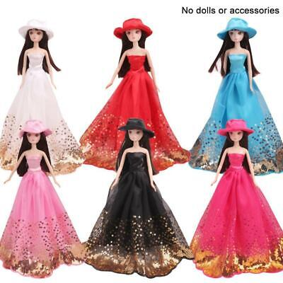Lovely Party Dress Wedding Clothes w/ Hat Gown For Princess Barbie Doll