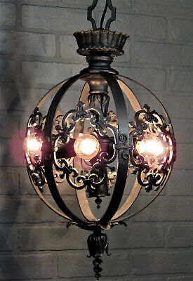 "Vintage Antique Bronze Theater Chandelier 6 Light Restored Art Deco 39 1/4""L"