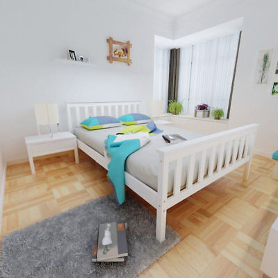 Pananan Double Bed in White 4'6 Wooden Frame White Pine Wood