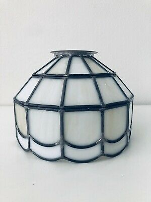 Vintage Tiffany Style Stained Glass Hanging Ceiling Light Lamp White Cream