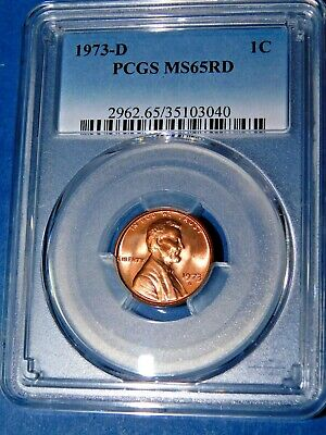 1973-D 1C RD Lincoln Memorial Cent-PCGS MS65RD--376-1