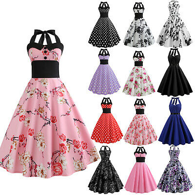 Women Vintage 50S 60S Swing Dress Party  Prom Cocktail Midi Dress Summer Gown