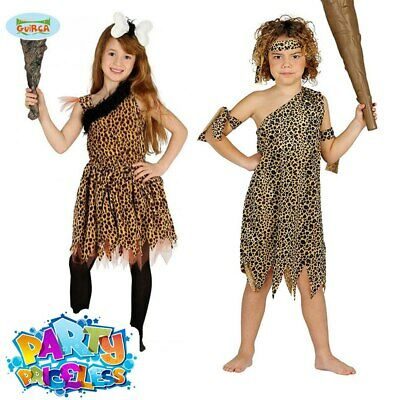 Boys Childrens Caveman Prehistoric Neanderthal Fancy Dress Costume Outfit