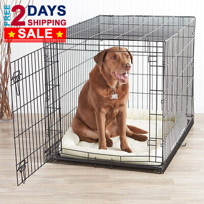 """Dog Pet Crate Kennel Cage Heavy Duty Folding Metal 42"""" Large Medium Small Size"""