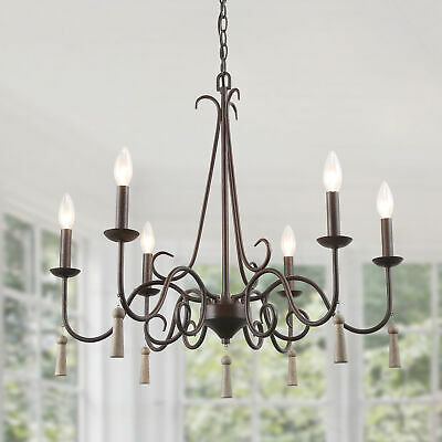 "LNC Rustic French Country Chandelier, 6 Lights 26.4"" Farmhouse Chandelier"