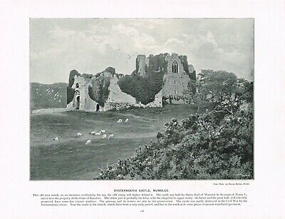 Oystermouth Castle Mumbles Swansea Bay Wales Antique Old Print c1896 PEAW#118