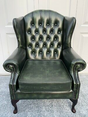 Brand New Chesterfield Queen Anne High Back Wing Chair In Antique Leather