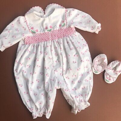 Vintage Baby 80s Cute Retro Floral Ditsy Romper White Pink Booties Set 3-6 M