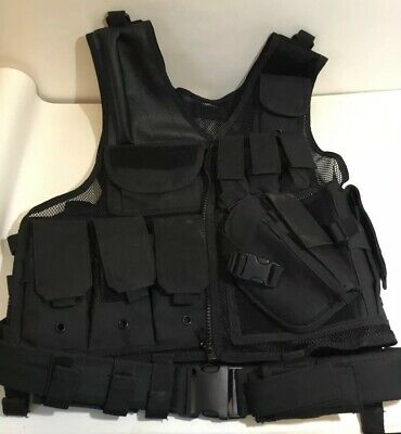 Military Army  Tactical Webbing Vest For Airsoft Paintball Black