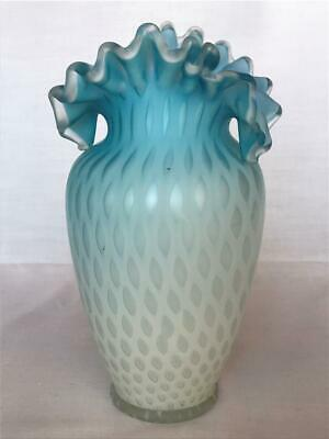 Antique Blue MOP Cased Satin Glass Ruffle Neck Vase Pairpoint Mt Washington
