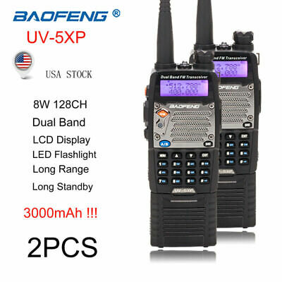 2x BAOFENG UV-5XP 8W Dual Band 3000mAh Walkie Talkie 128CH 2-Way Radio Headset