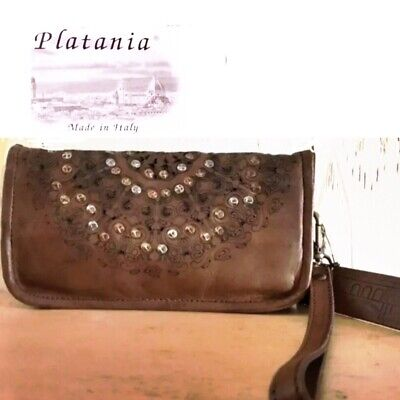 Platania Made in Italy Studded Washed Leather Wristlet/Clutch Travel Wallet NWT
