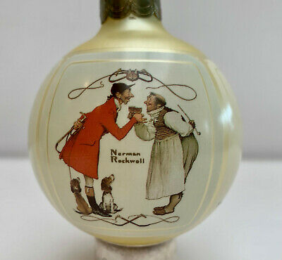 Norman Rockwell Christmas 1987 Glass Ornament In Original Box Vintage