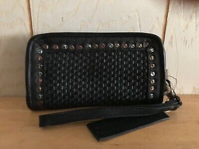 Platania Made in Italy Studded Braided Leather Wristlet/Clutch Travel Wallet NWT