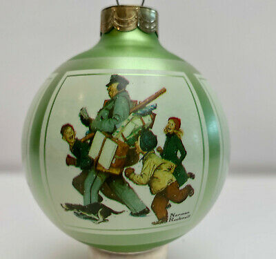 Norman Rockwell Christmas 1986 Glass Ornament In Original Box Vintage
