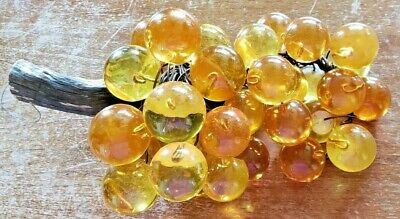 VTG RETRO MID CENTURY 1960's AMBER ACRYLIC LUCITE GRAPES BUNCH DRIFTWOOD STEM