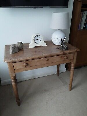 Antique Victorian Country Pine Side Table / Console / Desk