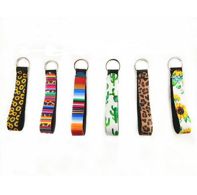 6PCS Neoprene Wristlet Keychain Lanyard Key Tags Chain Holder Strap & Split Ring