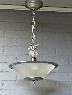 "Vintage Antique Art Deco Slip Shade Ceiling Light Chandelier Restored  22""L"