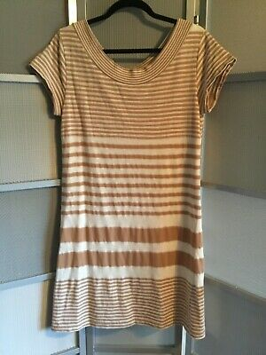 ecc51057924b Anthropologie Maeve Haven Striped Short Sleeve Lined Shift Dress Tan cream  Sz M