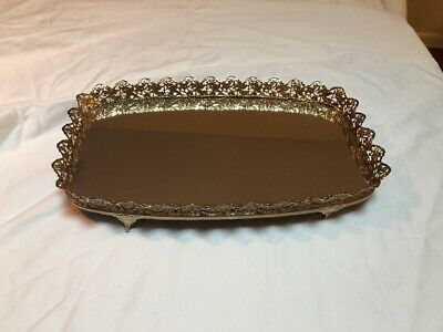 Vintage Large Tray Vanity Mirror Gold Filigree Felt Bottom rectangular 15X9 in