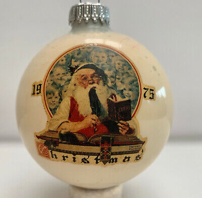 Norman Rockwell Sat Eve Post 1St Christmas 1975 Glass Ornament Orig Box Vintage