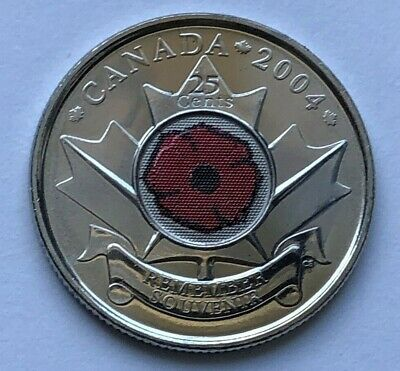 2004 Poppy 25 cents UNC from Mint roll - BU Canadian Quarter Canada Coin