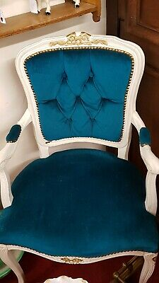French louis style chair Vintage Painted Country House Arm Chair.