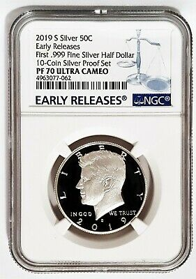 2019-S 50C SILVER Proof Kennedy Half Dollar First .999 NGC PF 70 Early Releases