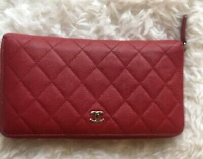 7116b5c848a2 Authentic Chanel Soft Caviar Leather Travel Wallet Clutch in Red Paid 1,200